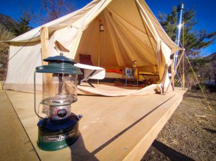 パオ型テントで手ぶらキャンプ